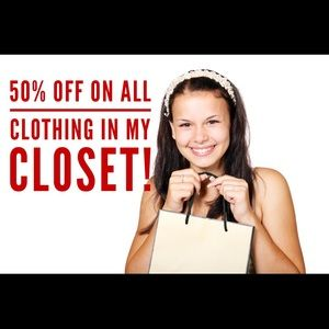 50% off ALL clothes in my closet!!!!!